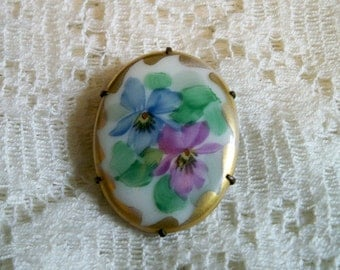 Antique American Painted Porcelain Floral Pansies Brooch Circa 1900 - 1917