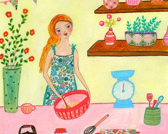 Baking Cakes Original Painting for Home Decor, Original Art, Children Decor, Kitchen Decor