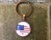America - glass keychain