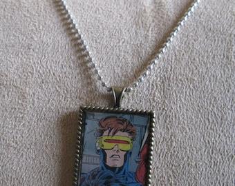 Cyclops Comic Pendant Necklace X-Men Marvel Wearable Art Jewelry