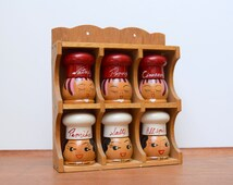Vintage Spice Cabinet, 6 Chef Head Shakers Including Salty and Peppy, Made in Japan, Wall Spice Rack, Kitschy Kitchen Decor