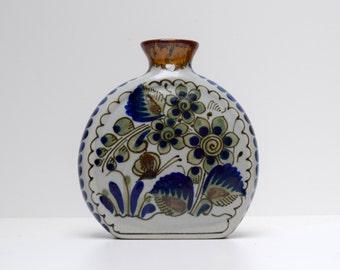 Tonala Mexico Pottery Coin Vase, Mexican Folk Art, Flowers Blue Green, 5.5 Inches