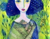 The Love of Nature. Art print from my mixed media painting, wall art, A4
