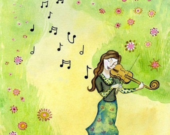 Musical Journey. Art print from my watercolour painting, wall art, A4