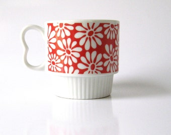 Vintage-1970s-Mod Flowers-Mug-Coffee-Tea Cup-Japan-Porcelain