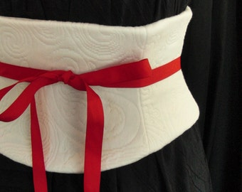 Ivory Quilted Waist Cincher Corset Belt Custom Any Size