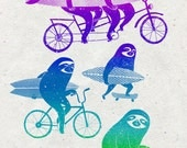 Cycling sloth A3 print - To the beach print - surfing sloths on bicycles illustration