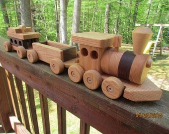 Train Set 3 car wooden Handmade toy Red Oak and  Walnut   Heirloom Quality Beautifully hand finished.