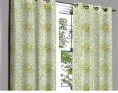 Rivalto Yellow Green Roses Grommet Lined Curtain in Textured Jacquard Weave Fabric Decor & Housewares Window Treatment Drape Curtain Panels