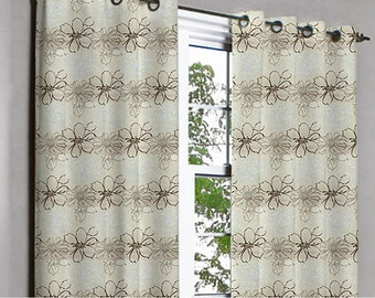 Soul Brown & Silver Floral Grommet Lined Curtain in Textured Jacquard Weave Fabric Decor and Housewares Window Treatment Drape Curtain Panel