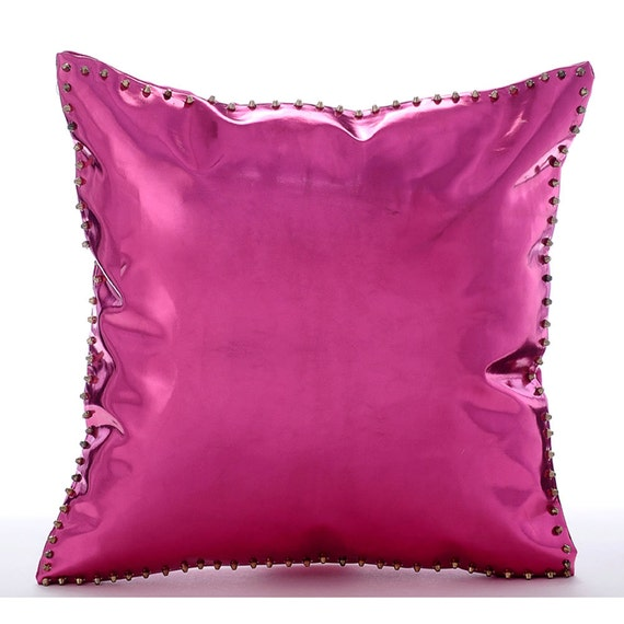 luxury hot pink throw pillows cover 16x16 faux. Black Bedroom Furniture Sets. Home Design Ideas