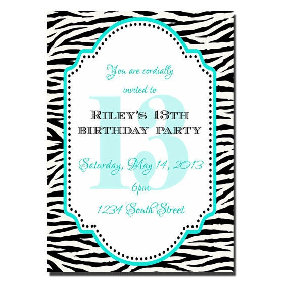 13th birthday party invitation girl birthday invitation, Birthday invitations