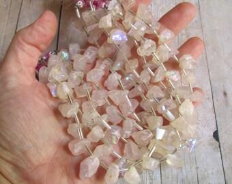 Rainbow Mystic Rose Quartz Raw Nugget Briolette  Beads Rough Druzy Aqua Aura