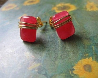 Pink Wire wrapped Stud Earrings Faceted Rhodochrosite
