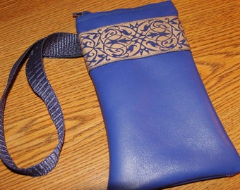 Royal Blue LEATHER w/Embroidered Trim Zip Wristlet Bag