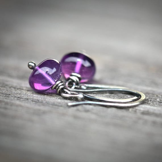 Sugar Plum Fairy Drops - Wire Wrapped Blackened Sterling Silver Earrings