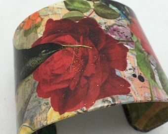 Hummingbird with Roses Decoupage Cuff Bracelet