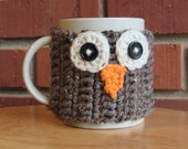 Crocheted owl face mug cozy cup cozy in barley brown