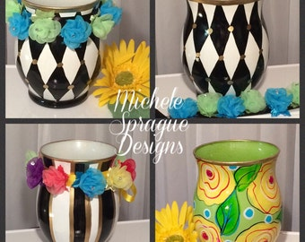 Painted glass vase, black and white harlequin vase, striped and citrus floral whimsical painted home decor