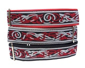 "14-18"" CELTIC  or EGYPTIAN DOG Red and black 1.5"" wide Martingale Dog Collar, Safety Collar, Greyhound Collar, Sighthound Collar, Adjustable"