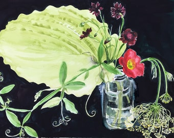 Botanical study No.8 original watercolor flower painting