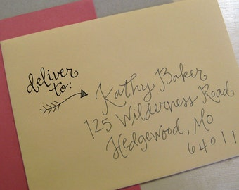 Deliver To Handwritten Stamp