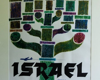 Rare and beautiful vintage David Klein Israel TWA poster 1960s