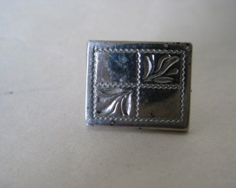 Sterling Silver Rectangle Tie Tack Lapel Pin Vintage 925
