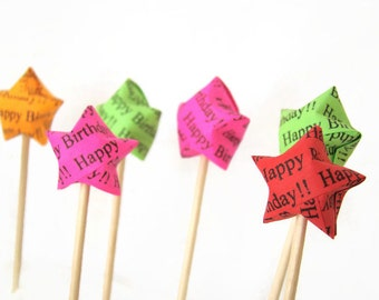 Party Picks - Happy Birthday Lucky Stars - Set of 25 in Your Color Selection