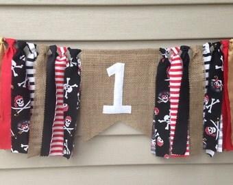 High Chair banner - Pirate theme Rag Tie Banner -rag tie garland -cake smash photo prop -Birthday Burlap Banner