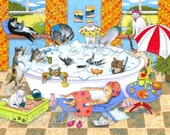 Archival Art Print Cats Cat 601 in bath from funny bathroom art painting by Lucie Dumas