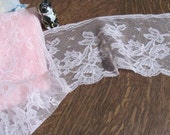 4 Yards Wide Soft Pink Floral Scalloped Lace ,.5 inches wide