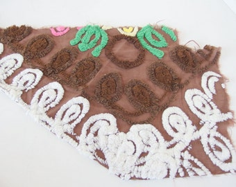 Vintage Brown Chenille with White and Brown Loops for Crafting