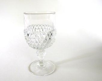 Vintage 1970's Clear DIAMOND POINT Footed Water Goblet, Retro Dishes