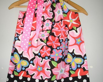 Pink Black flowers dots  Freespirit Fabric called Wild Child  pillowcase dress 3,6,9,12,18, months ,2t,3t,4t,5t,6,7,8,10,12