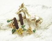 Vintage Brooch Enamel Jewelry Donkey Fence P5609
