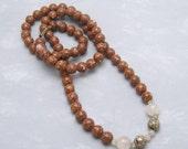 Long Vintage Bead Necklace Rose Quartz Cloisonne Jewelry N6093