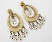 Oval Hoop Earrings Crystal Fringe Large Long E3132