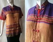 Vietnamese raw silk patterned / striped lightweight shirt, band collar, short sleeves, purple, maize, red, multicolor, unisex small / medium