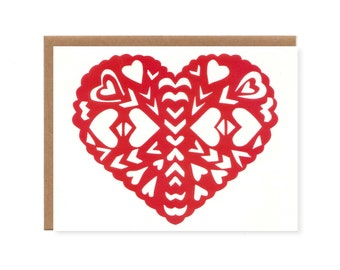 Paper Heart -- Screenprinted Love Card for Valentine's Day