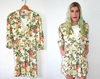 20 DOLLAR SUPER SALE! White Floral Dress - Cream Dress - White Summer Dress - Rose Dress