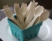 24 Party Straws or 24 Wooden Cutlery Utensils