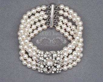 5 Strands Bridal Bracelet, Pearl Wide Wedding Bracelet, Vintage Style Bridal Cuff Bracelet