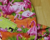 The *Happy Andi* Hanging Grocery Bag Holders, Storage, Recycling- Flamingo, Pink Flamingo- Tropical Flamingo, Palm Trees - RTS