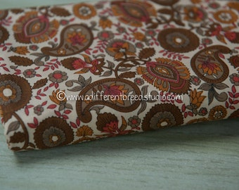 Mod 70s Paisley - Vintage Fabric Oranges Golds Browns Stylized