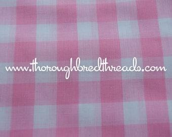 "Amazing Pink Gingham- Vintage Fabric Juvenile Holiday Doll Making Big Blocks 1"" squares"