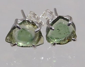 Crystals of Natural Green Watermelon Multi Color Tourmaline 3.76 ctw Hand Set in Sterling Earrings  NOW on SALE. - Fast Free Shipping
