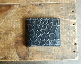 leather billfold wallet: black croc embossed