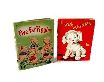 Tiny Tales books - A New Playmate - Five Fat Piggies - Mid century - 4 x 3.25 inch books