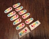 SALE Set of 12 Caterpillar  Embroidered Felt Appliqués Felties Clip Covers